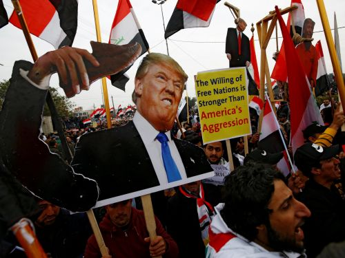 Hundreds of thousands of protesters marched in Iraq to demand American troops leave the country