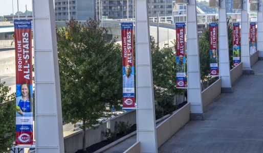 Cincinnati Reds honor essential workers by hanging banners outside Great American Ball Park