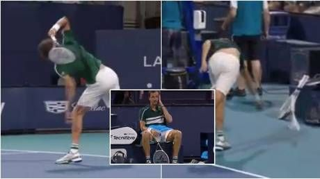 Feeling the heat: Russian top seed Medvedev in epic meltdown in Miami as he crashes out to Bautista Agut