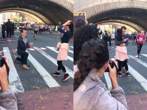A man went viral for proposing to his girlfriend in the middle of the New York City Marathon - and people have a lot of thoughts