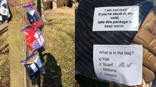'Operation Scarf' leaves warm clothes in parks to help those in need