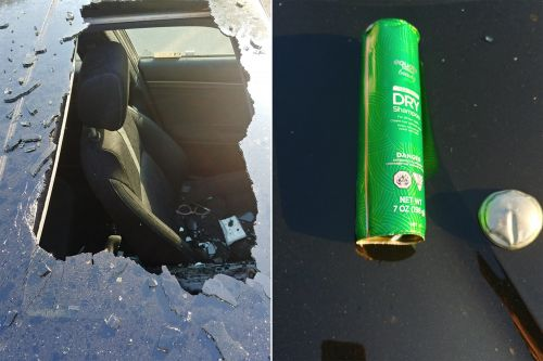 Dry shampoo bottle explodes in woman's car, destroys sunroof