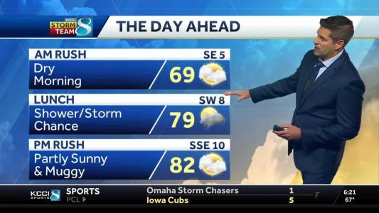 Mid-day storm chances turn to muggy afternoon