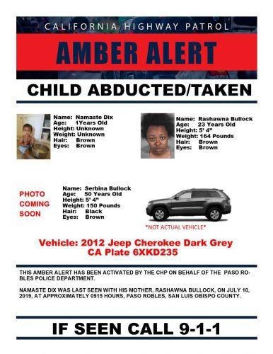 Amber Alert issued out of Paso Robles for 1-year-old