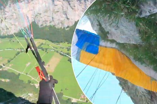 Paraglider crashes face-first into the side of a mountain