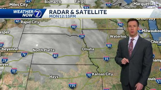 Continued dry Monday, scattered light rain Tuesday