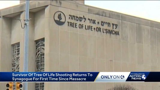 Synagogue shooting survivor goes back inside for the first time