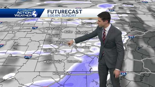 Cold and damp tonight, scattered snow showers Sunday morning