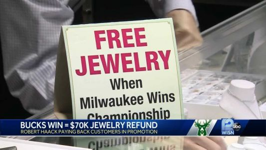 Jewelry store to pay out refunds after Milwaukee Bucks win NBA championship