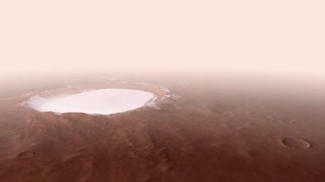 For the crater good: ESA shares incredible, never-before-seen view of icy Martian canyon