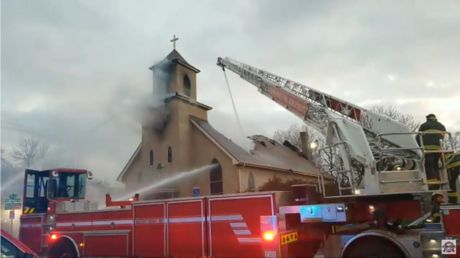 Fire consumes historic church in Minneapolis as protests rock the city bracing for verdict in Chauvin trial