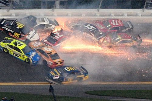 Massive, fiery wreck takes out much of Daytona 500
