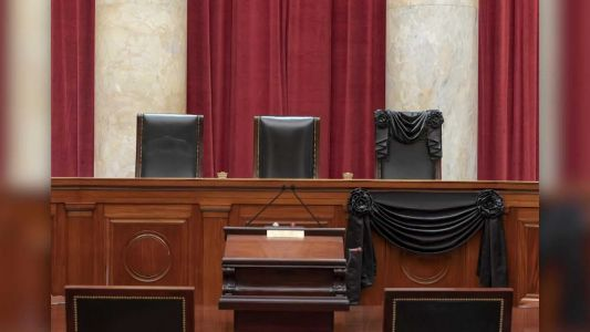 Justice Ruth Bader Ginsburg's Supreme Court seat draped in black