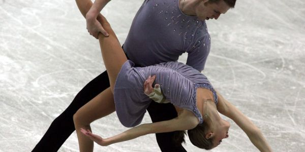 A former figure-skater said she was sexually abused for years by her partner who died by suicide