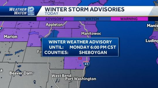 WINTER WEATHER ADVISORY in effect for Sheboygan county til 6pm due to the *lake effect* snow showers
