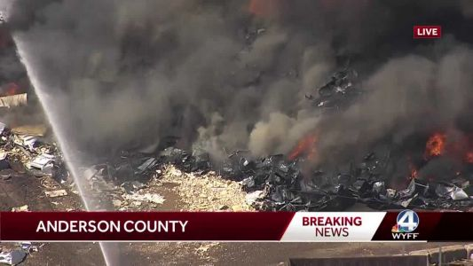 Upstate recycling center catches on fire, sends plume of smoke into the air