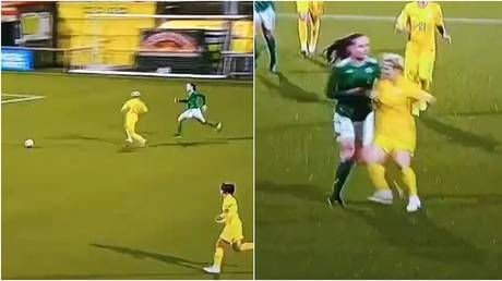 WATCH: Football fans in hysterics at 'most cynical foul in history' as Ukraine player takes out rival in women's Euro qualifier