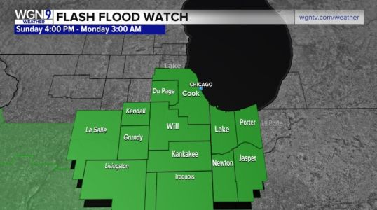 Flash flood warning issued for portions of Chicagoland