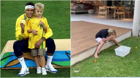 Egg on his face: Prankster Neymar TROLLS son Davi Lucca by fooling eight-year-old into smashing an EGG over his head