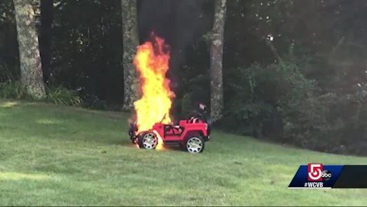 Mom saves children moments before toy jeep unexpectedly bursts into flames