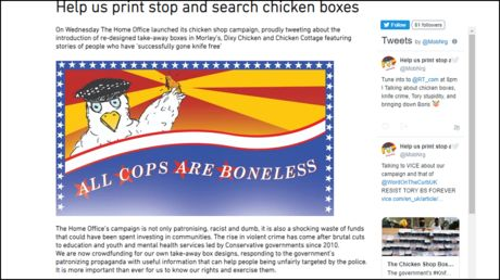 'All cops are boneless': UK govt's knifefree chicken boxes ridiculed by crowdfunded alternative