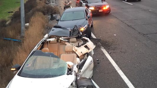Roof of car sheered off in I-205 crash, CHP says