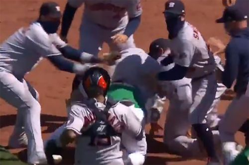 Astros, A's brawl after Ramon Laureano is hit by pitch