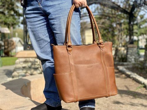 This leather laptop tote from Pad & Quill is all about business