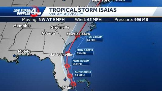 Isaias approaches Florida, SC landfall likely Monday