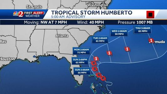 Tropical Storm Humberto on track to stay east of Florida