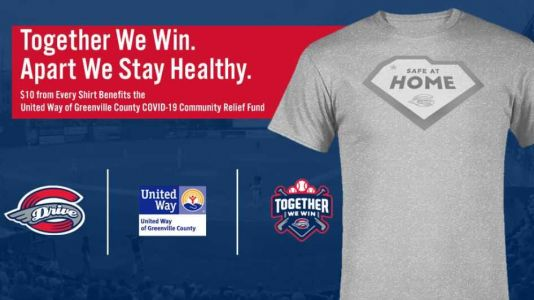 Baseball home plate image turns into message to stay at home from Greenville Drive