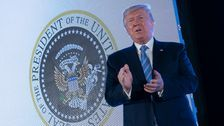 Trump Stood In Front Of Presidential Seal Doctored With Russian Symbol, Golf Clubs