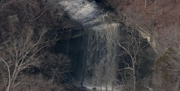 WATCH: Clifty Falls waterfall in southern Indiana rages after weekend rain