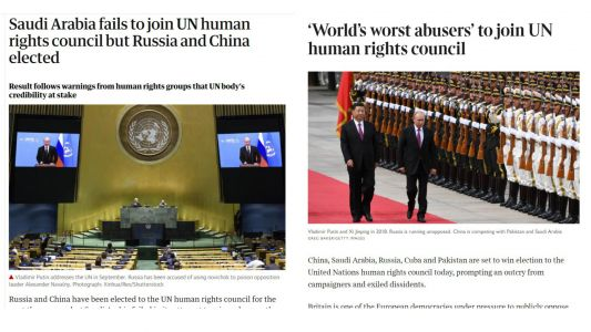 Western Anger as China, Russia Elected to UN Human Rights Council and Saudi Arabia Rejected
