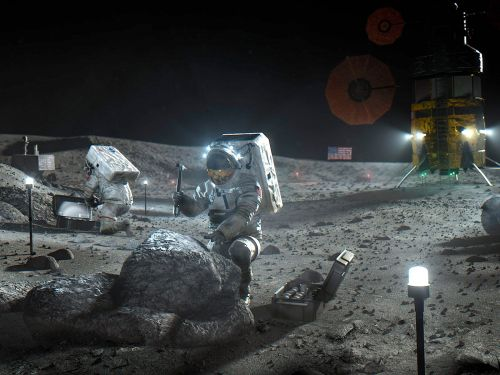 The moon is sprinkled with patches of frozen water, NASA scientists discovered. Mining it may be crucial for travel to Mars and beyond
