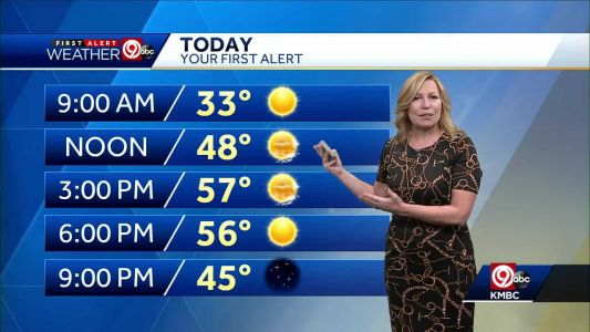 Mostly sunny, highs in upper 50s Saturday