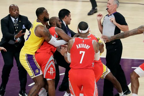 'Bulls-t': The alleged spit that led to ugly Lakers-Rockets brawl
