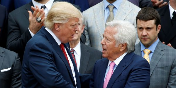 Trump reportedly watched the Super Bowl with the founder of the Florida spa chain where Robert Kraft was charged with soliciting prostitution