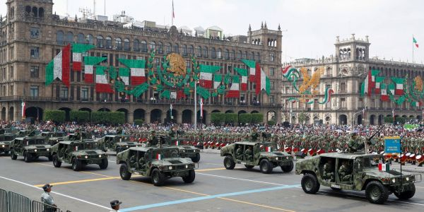 Mexico's military paraded through the streets for independence day, and for the first time, women pilots flew over them