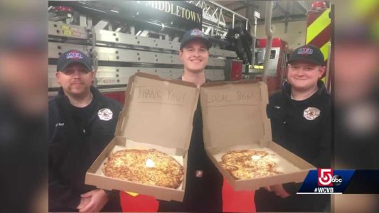 'Kyle from Waltham' buys pizza for police, fire departments