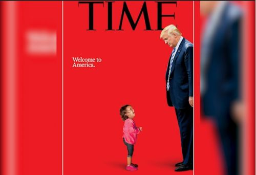 President Trump stares down at crying immigrant child in new TIME cover