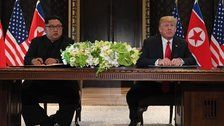 Trump And Kim Sign Joint Agreement As Historic Singapore Summit Closes