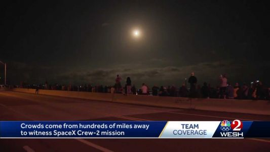 Crowds come from hundreds of miles away to witness SpaceX Crew-2 mission