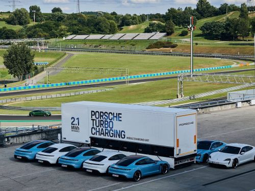 Porsche created a huge EV charging truck that can recharge 10 Porsche Taycans at once -see how it works