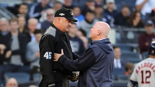 ALCS Game 3 delayed 17 minutes after home-plate umpire Jeff Nelson takes two foul balls off mask