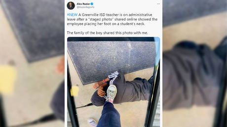 Texas school teacher suspended over photo of her foot on black student's neck