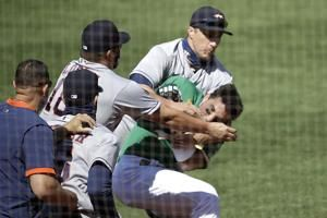 Astros, Athletics clear benches as rivals' tempers flare