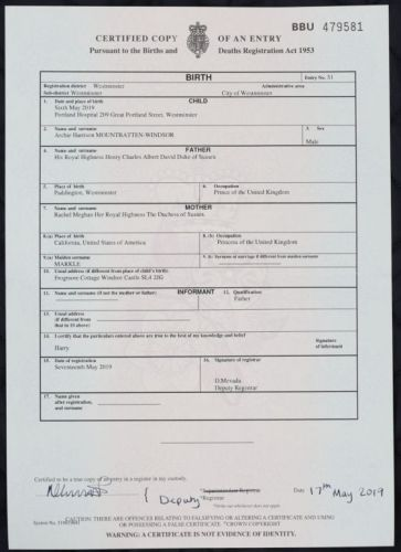 Royal Baby Archie's Birth Certificate Is Released