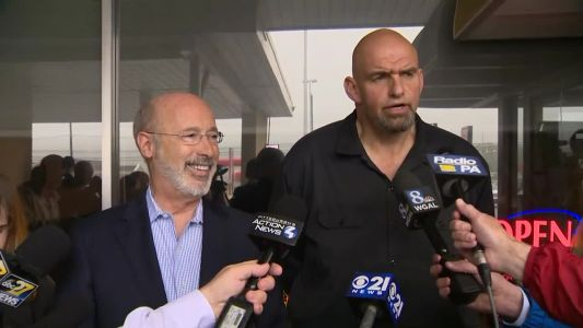 Gov. Tom Wolfe and new running mate John Fetterman meet to discuss future