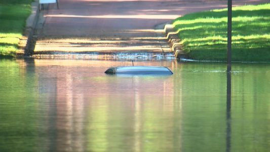 Car Submerged Flooded Road In South Minneapolis